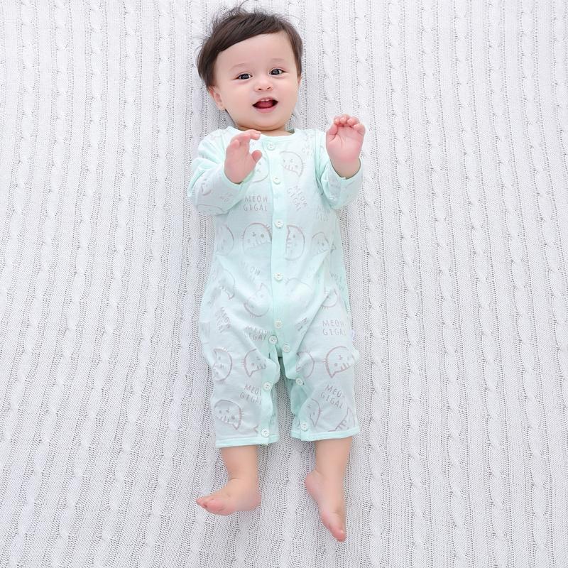 夏季薄款婴儿衣服0-1岁宝宝长袖哈衣连体衣新生儿睡衣空调服夏装限时抢购