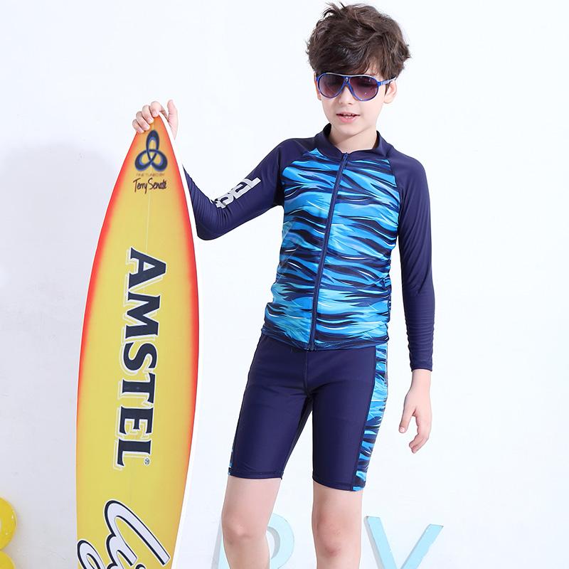 儿童分体游泳衣中大童长袖防晒男童泳裤套装8-12-15岁青少年泳装