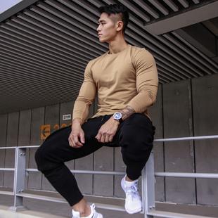 BVSN健身运动速干长袖训练打底t恤户外休闲修紧身圆领上衣男秋季图片