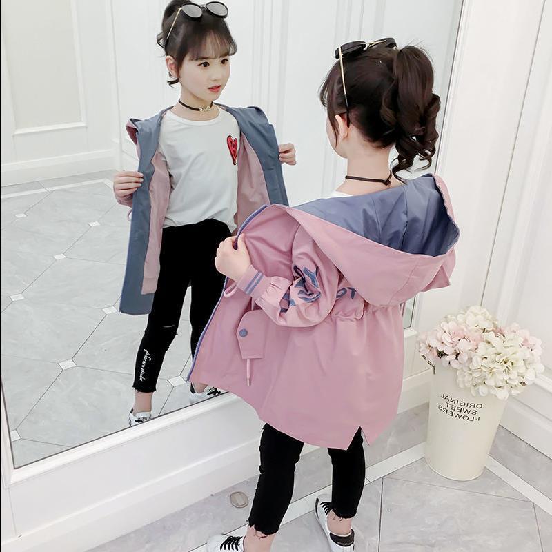 童装女童秋装外套2020新款时尚中大童连帽中长款风衣儿童洋气上衣