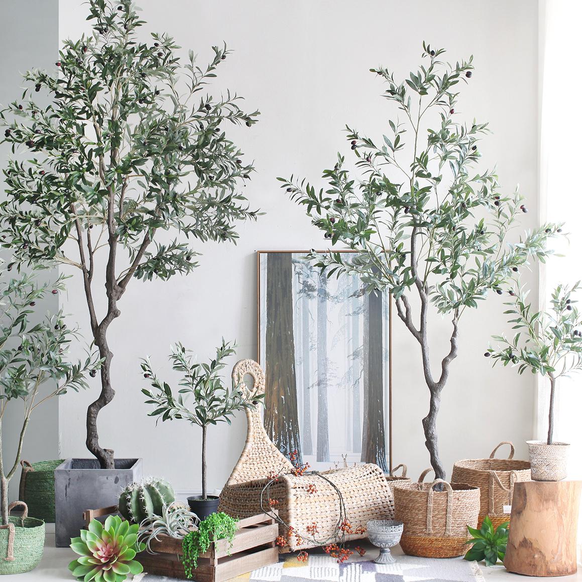 西西里ins北欧仿真绿植盆栽橄榄树落地大型植物家居办公橱窗摆设
