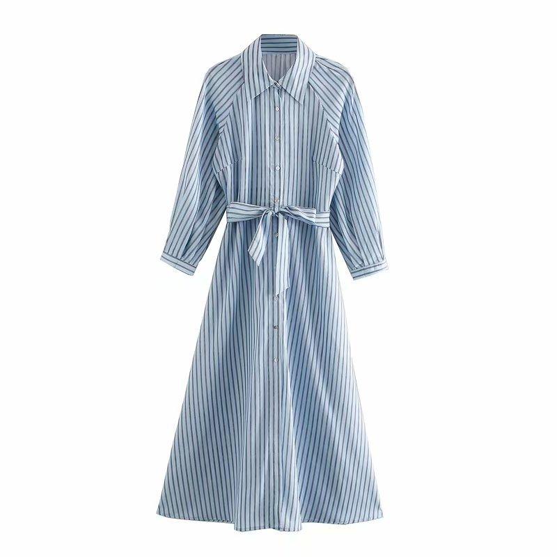 文艺气质韩国太阳的后裔宋慧乔同款腰带港风条纹衬衣式条纹连衣裙