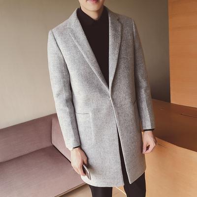 秋冬韩版修身毛呢大衣男士中长款风衣潮男装呢子外套潮 F201P115