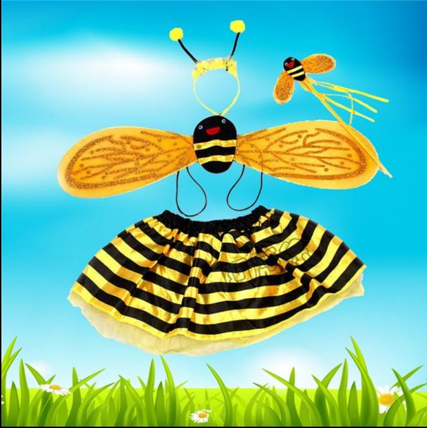 儿童演出服装卡通动物 小蜜蜂表演服 幼儿园蜜蜂舞蹈服头饰道具