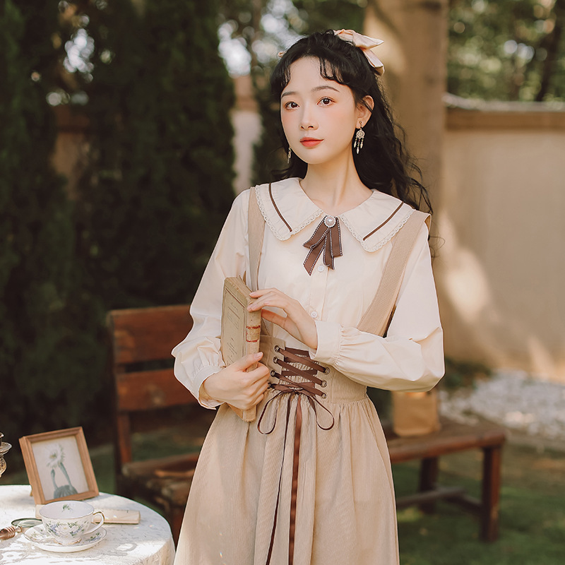 Long sleeve lace Lapel Ribbon Shirt literary retro suit age reduction strap solid color suspender skirt two piece set early spring