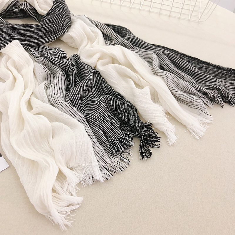 Ins Japanese Pure Cotton Striped Scarf art style spring and autumn winter student gradual change shawl all kinds of cotton hemp female scarf