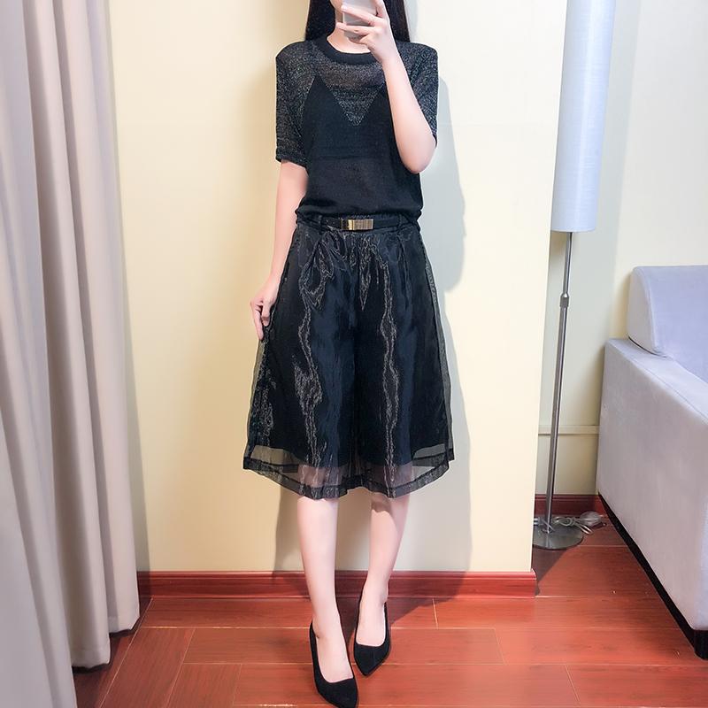 2019夏装新款女潮时尚薄款小心机套装短袖T恤欧根纱阔腿裤两件套
