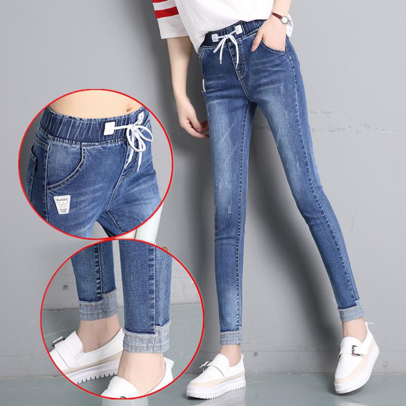 Spring and autumn elastic waist jeans womens elastic flanging Capris slim slim Leggings high waist Plush