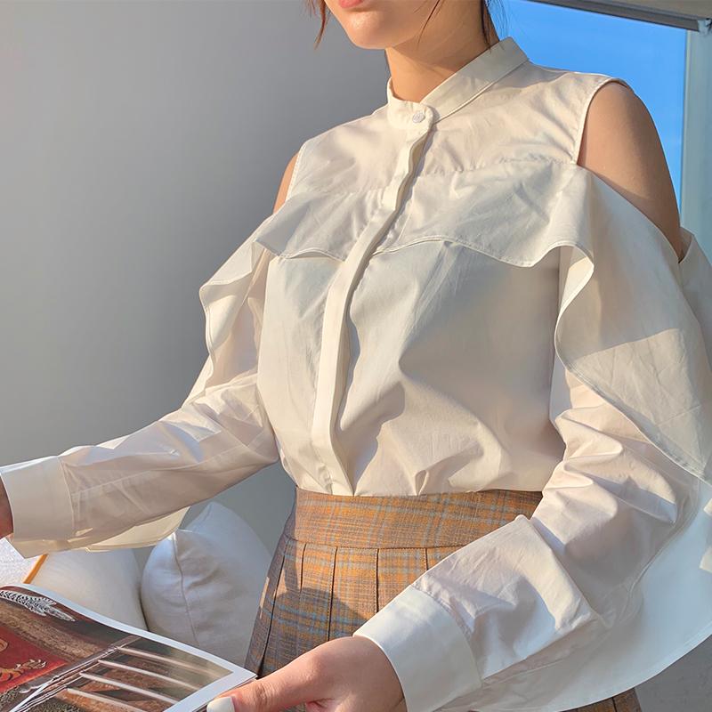 2020 off shoulder top womens Ruffle shirt womens spring summer style ~ elegant intellectual style niche design shirt