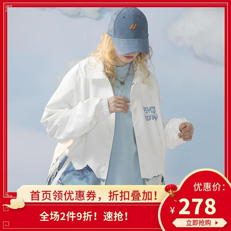 PCMY春季新款潮牌雪山教练夹克国潮风ins宽松日系男女情侣装外套