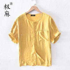 极麻日系无领大码短袖亚麻衬衫男士休闲小清新宽松半袖棉麻料衬衣图片