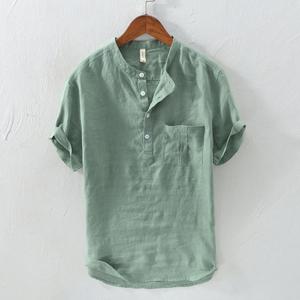 日系复古立领短袖亚麻T恤男士夏季休闲宽松青年透气棉麻料体恤衫