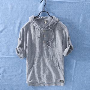 日系复古条纹连帽短袖棉麻T恤男士夏季休闲宽松防晒亚麻料体恤衫图片