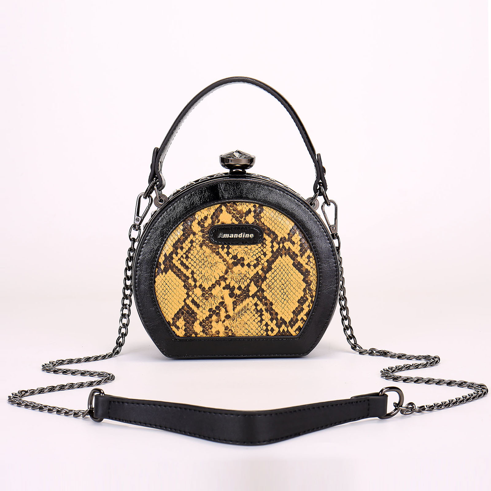 2021 new fashion clip bag old flower small round bag leather handle womens bag wide shoulder strap single shoulder Crossbody