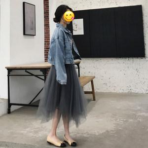 Halo nini蓬蓬裙2020春季新款韩版百搭不规则网纱裙显瘦半身裙女