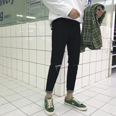2018新款破洞黑色九分牛仔裤春秋原创小脚裤男潮<em>609</em>/P35