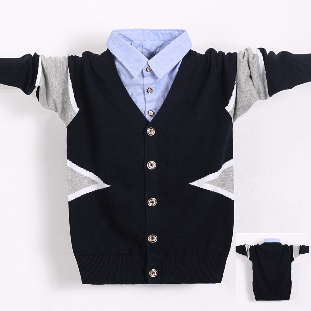 All cotton middle school boys spring and autumn Pullover thin pure cotton knitted sweater shirt collar two Cardigans