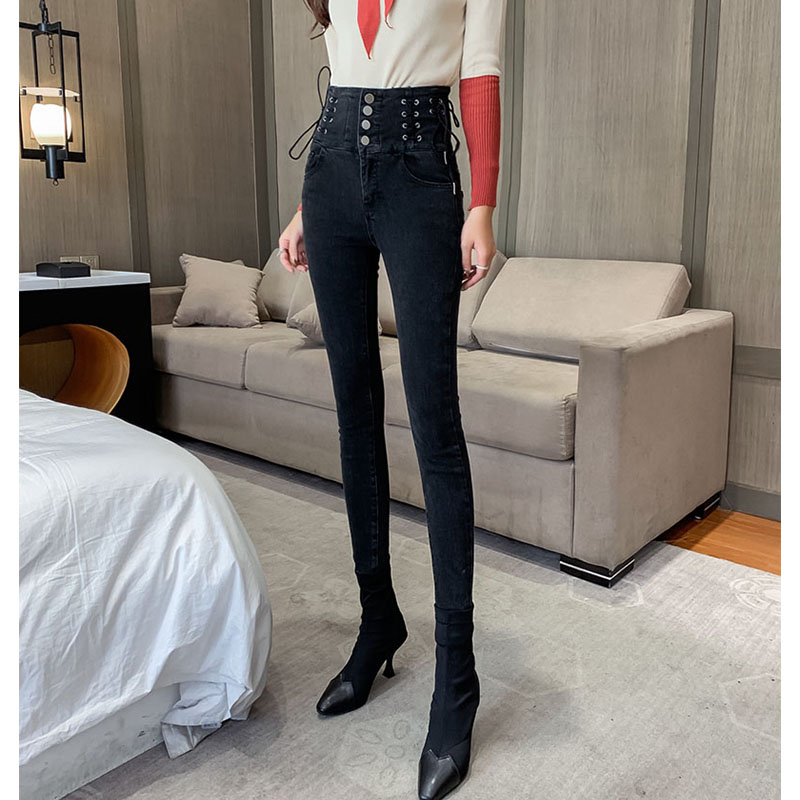High waisted jeans for women with slim and slim feet 2020 new spring and autumn tight and versatile net red pants