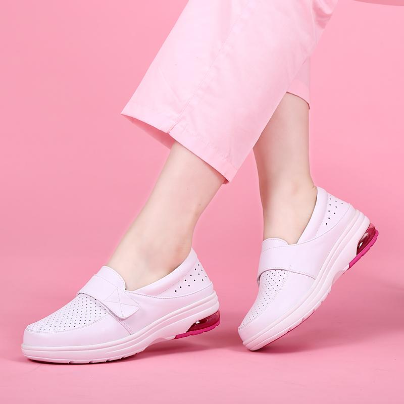 护士工作鞋女白色圆头真皮透气防滑舒适气垫软底厚底低帮孕妇单鞋