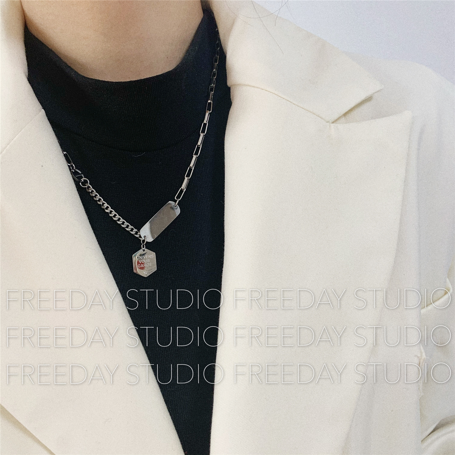 New style titanium steel does not fade European and American hexagon letter square brand silver geometric cool girl necklace chain sweater