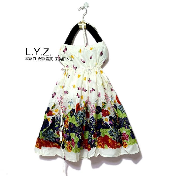 Floral skirt, beach sun skirt, neck and chest wrapped two wear Mori Bosi drawstring, Korean new summer womens dress, cotton yellow