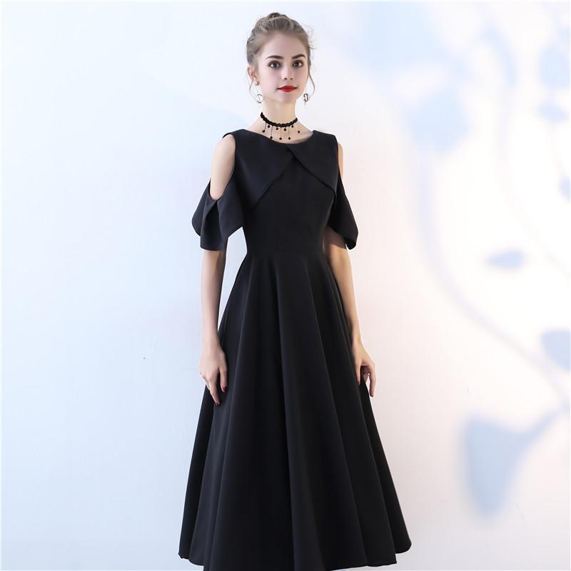 晚礼服裙新款2020夏中长款黑色显瘦派对礼服聚会宴会主持人礼服女