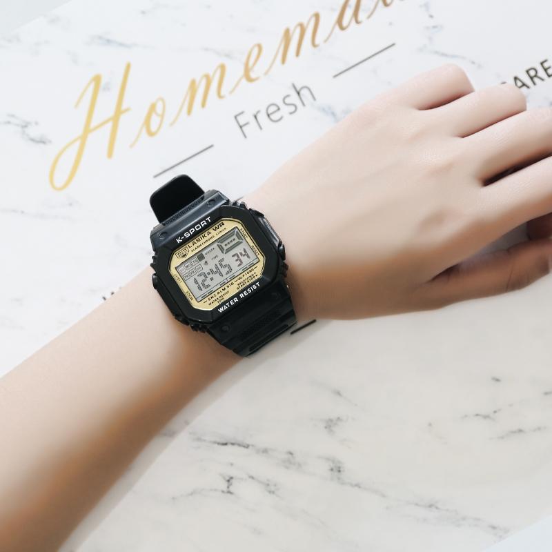 LASIKA电子表儿童男女学生运动防水数字式复古小方块手表