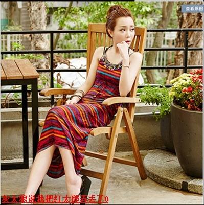 香港miu缪家新款海边度假沙滩裙挂脖连衣裙泰国旅游女装长裙子