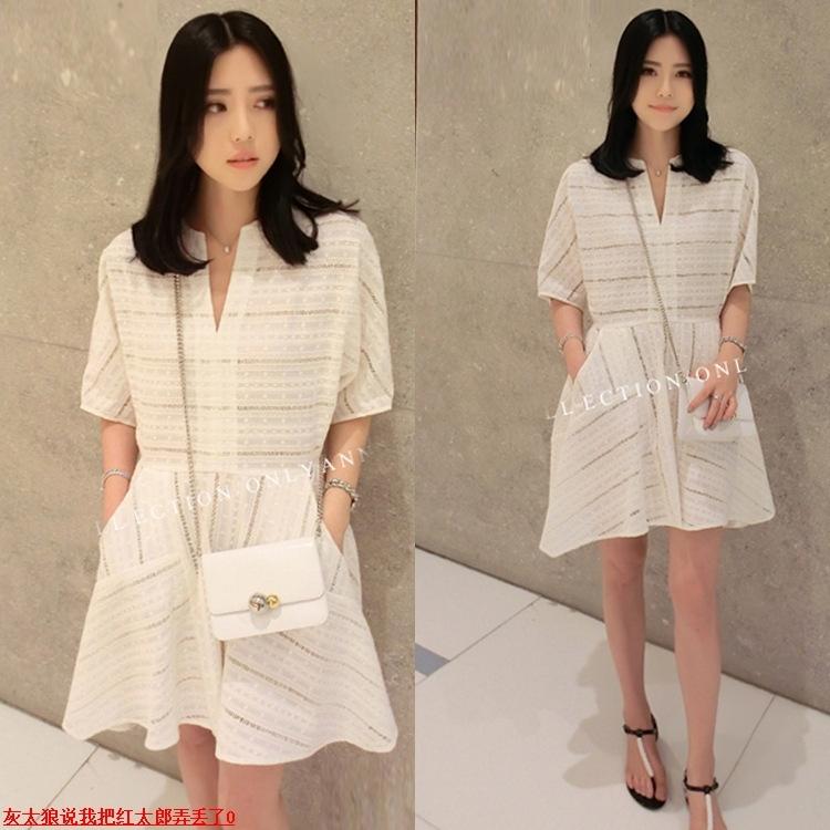 香港miu缪家女装夏季新品气质宽松款蕾丝衬衫短袖连衣裙沙滩裙潮