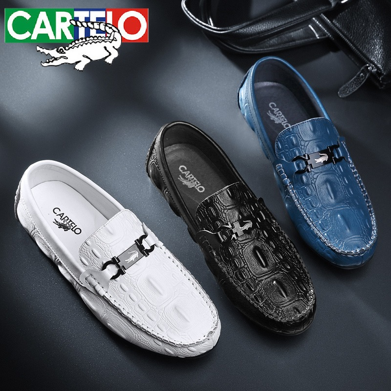 Cadillo crocodile leather mens shoes leisure shoes sports lazy peoples one foot soybean shoes cowhide low top deodorant trend