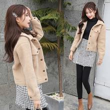 新款 皮毛一体时尚 百搭宽松休闲夹克上衣 羊羔毛绒外套女短款 秋冬装
