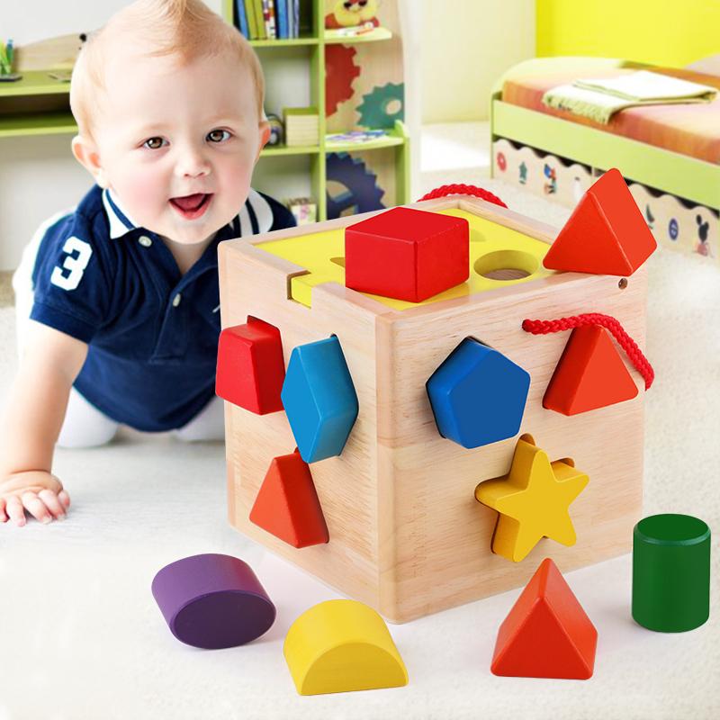 Ребенок геометрия форма пара строительные блоки 10 месяцы мужской и женщины ребенок ребенок головоломка коробка обучения в раннем возрасте игрушка 0-1-2-3 лет