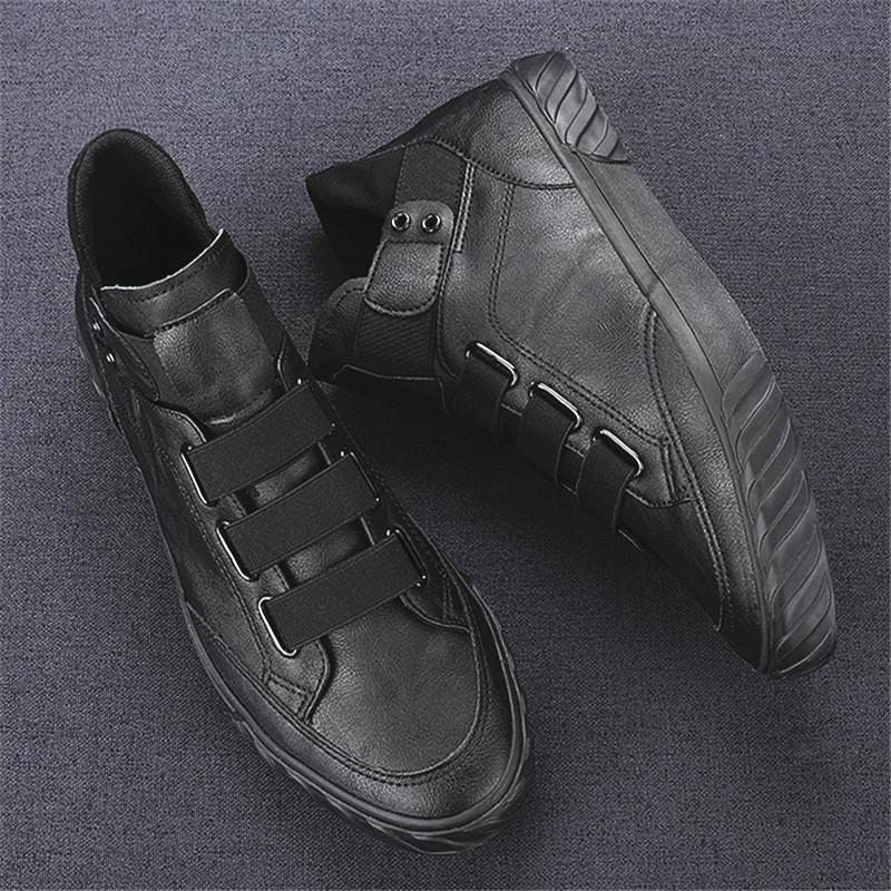 男鞋2020新款秋季百搭男士休闲皮鞋韩版潮流中高帮皮面板鞋男潮鞋图片