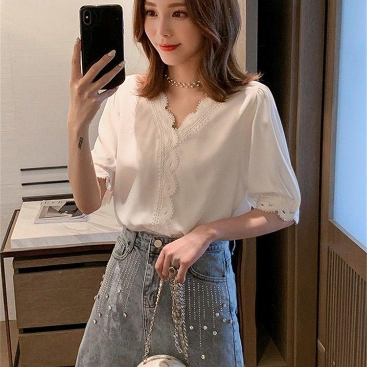 衬衫女设计感小众上衣五分袖宽松韩版夏季t恤蕾丝拼接雪纺衬衣ins