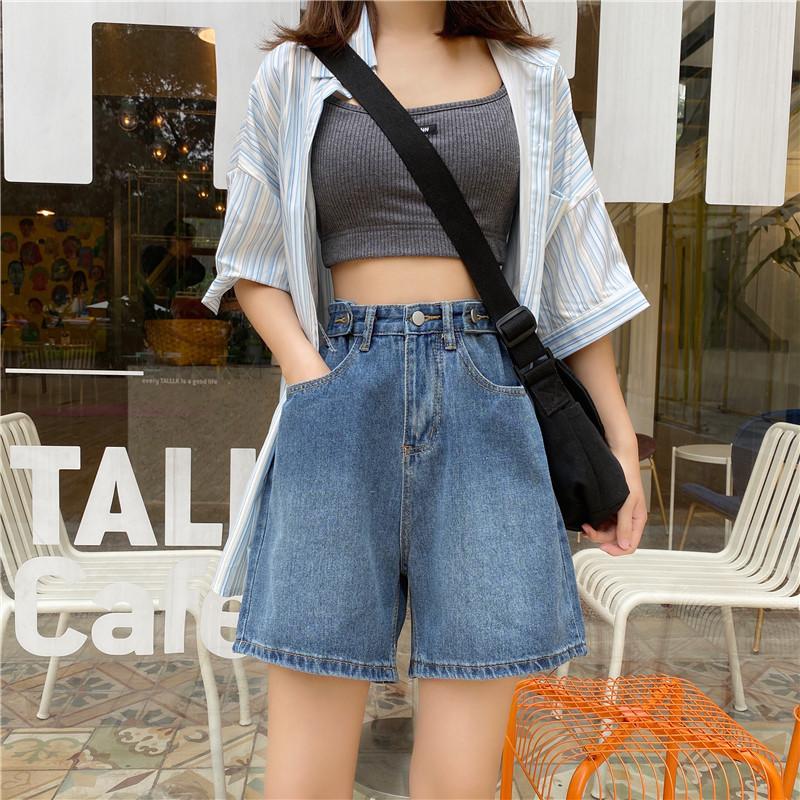 实拍实价 新款韩版宽松显瘦高腰可调节裤子学生牛仔中裤