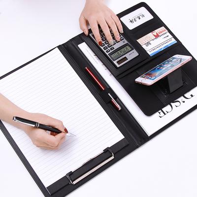文件夹多功能a4定制开单本写字夹板文具皮质销售经理夹谈单本室内设计师量房本商务文件夹板办公用品