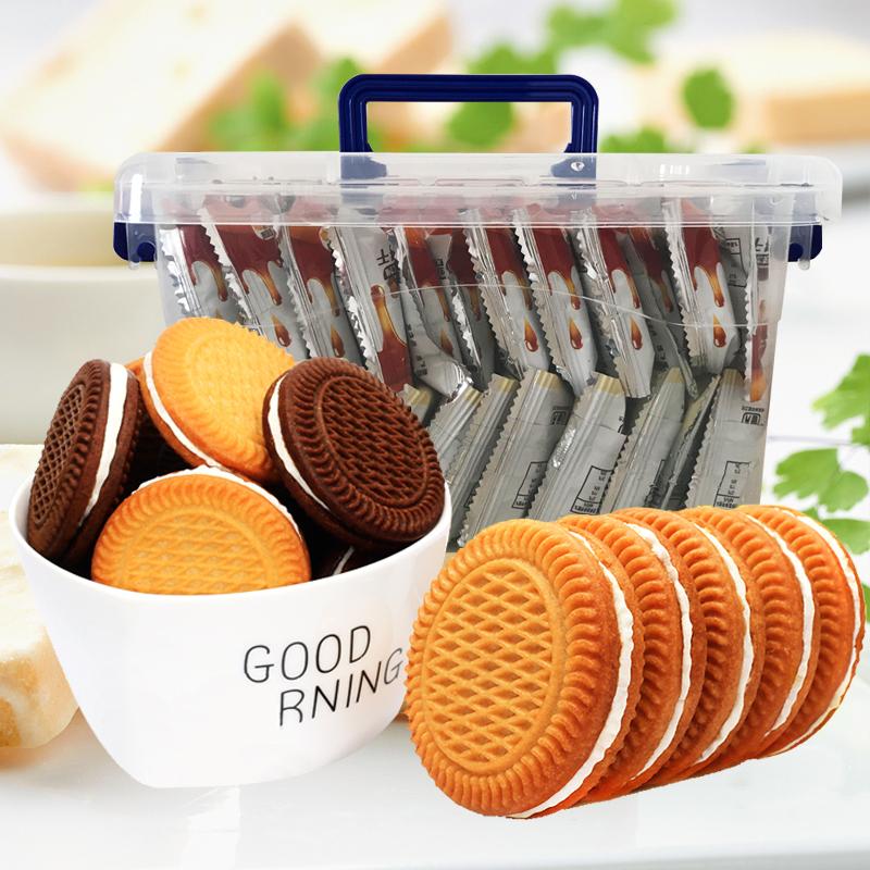 夹心饼干整箱 5斤多口味休闲早餐饼下午茶办公室零食品散装2500g
