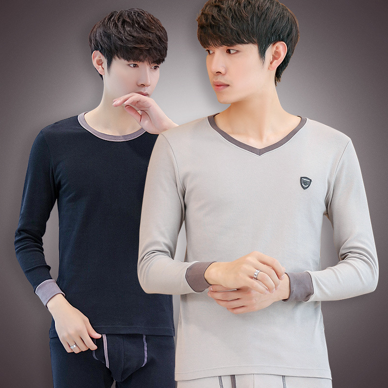 Autumn clothes and trousers a set of mens pure cotton youth cotton sweater and trousers all cotton thin bottomed thermal underwear mens middle-aged V