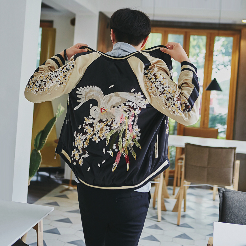 Japanese Yokosuka embroidered jacket mens BF couple in spring and autumn wear fashion brand Baseball Jacket on both sides