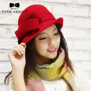 粉色绵羊女士新款蝴蝶结羊毛帽