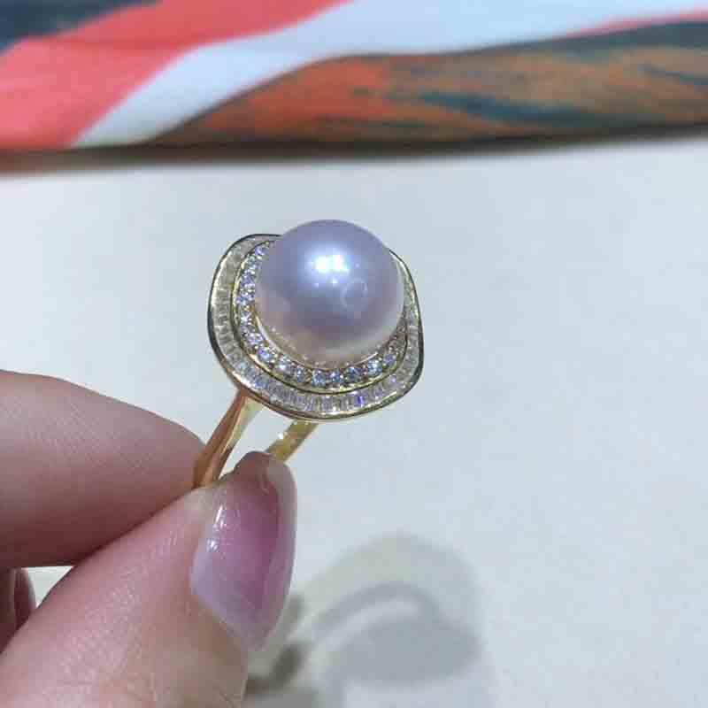 银戒圈可调节S925正圆正品强光12MM11淡水真珍珠戒指指环大颗粒