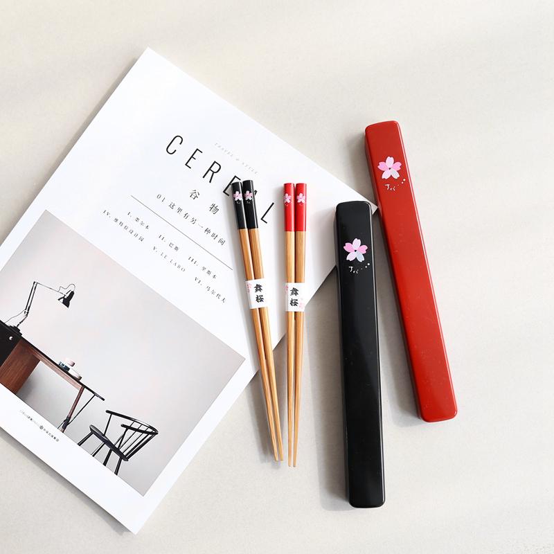 日本和風可愛成人兒童實木筷子便攜個性刻字定製結婚畢業餐具套裝