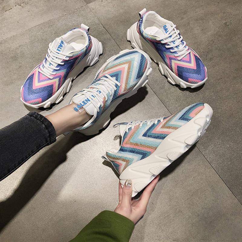 彩色老爹鞋女 超火夏季休闲女鞋2019新款时髦夏天运动ins潮糖果色