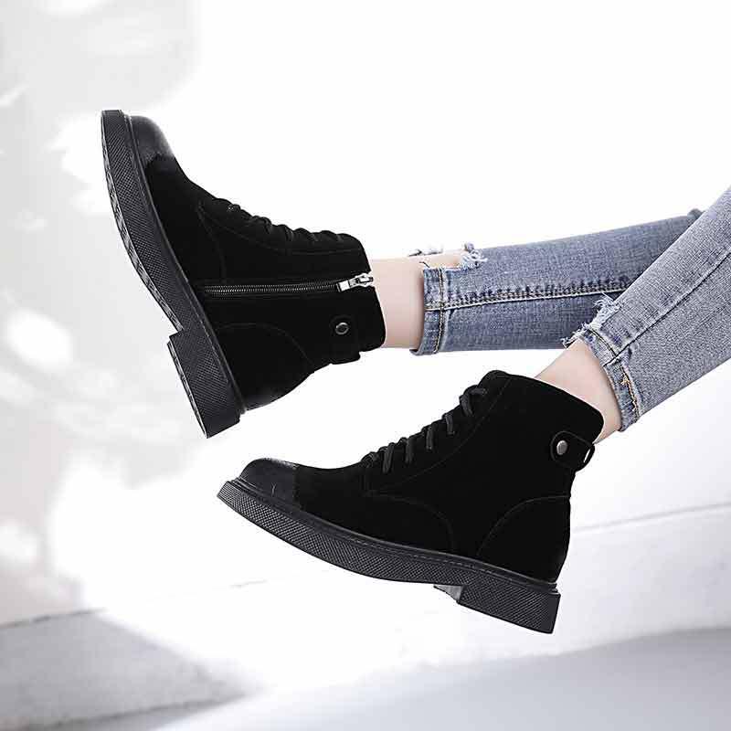 2019新款女靴真皮短靴女松糕厚底马丁靴温州欧美皮靴