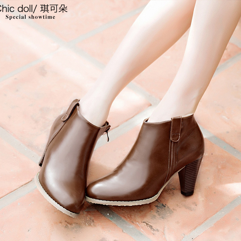[Full clearance] spring and autumn new short boots womens high heel thick heel womens boots side zipper womens single boots nude boots big size women