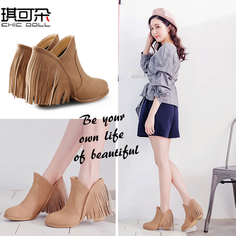 Short boots womens single boots thick heels Martin boots retro tassel boots womens high heels and ankles