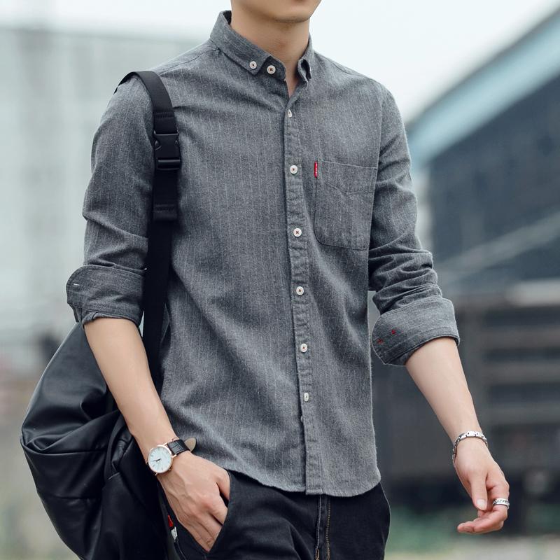 秋冬条纹男士韩版修身磨毛加绒长袖衬衫商务休闲纯棉衬衣加厚大码