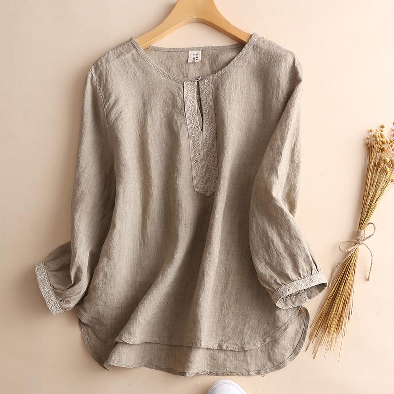 棉麻上衣2020夏新款薄款亚麻料女刺绣中袖宽松休闲显瘦女衬衫