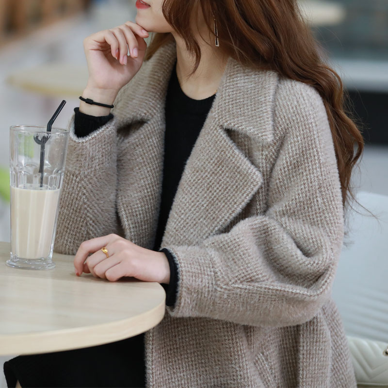 2019 new autumn and winter mink wool coat womens medium long thickened thousand bird pattern gold wool coat women