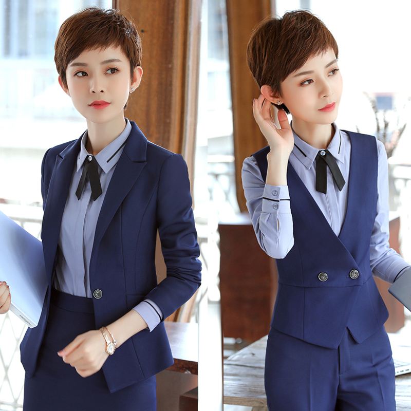 11月08日最新优惠工作服女酒店经理职业装美容院前台制服店长领班工装蓝色西装套装
